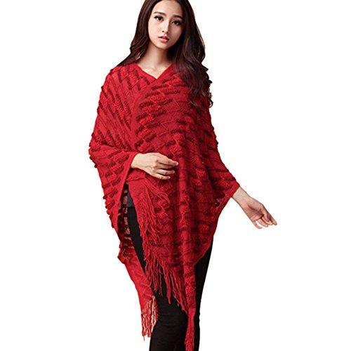 OCHENTA Femme cape frange perce Poncho elegant Manches chauve-souris 2019 Rouge