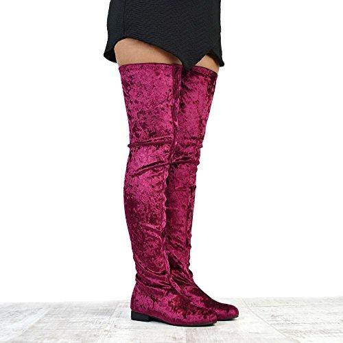 ESSEX GLAM Stivale Donna Sopra al Ginocchio Stretch Velluto burgundy velvet