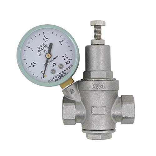 Druckminderer wasser 1/2 3/4 1 1-1/4 1-1/2 2 zoll - Bleifrei Edelstahl - druckregler wasser wasserdruckminderer mit manometer (DN15-1/2 zoll) -