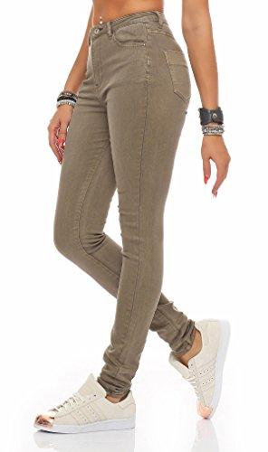 SKUTARI Damen - Skinny Röhren Jeans Hose Stretch High Waist Beige