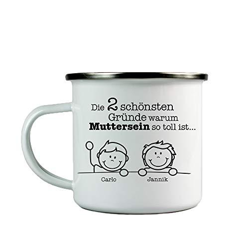 asse mit Aufdruck - Gute Gründe Muttersein - Personalisiert mit [Namen] der Kinder - Weiß - Retro Kaffeebecher - Outdoor - Geschenkidee für Mama zum Muttertag - Füllmenge: 300 ml ()