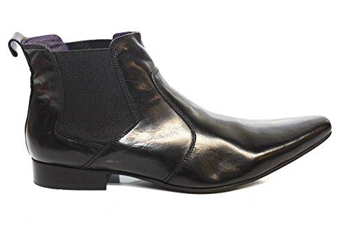 Pour Homme En Cuir Doux Noir Gucinari pointu cheville bottes taille UK 6–12 Noir - noir