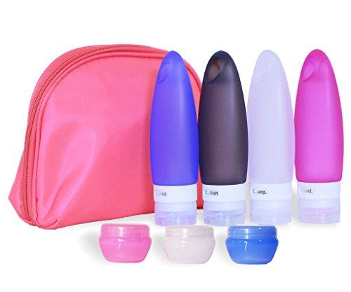 SANTREST Silikon Reisen Flaschen Set 3.3 Flüssigunzen / 98 ml ohne Auslaufen, BPA-frei, TSA-Airline genehmige auslaufsichere(Pink Bag) -