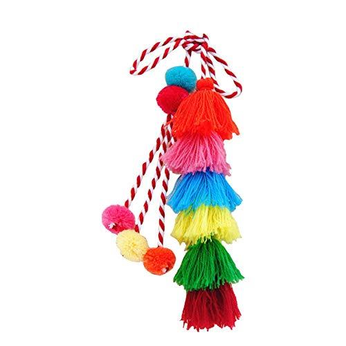 Zentto Quaste Schlüsselanhänger Boho Pom Pom Schlüsselbund für Frauen String Pom Poms Dekor Anhänger Boho Quaste Tasche Charme für Frauen Mädchen