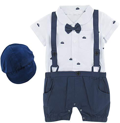 Taufe Kleidung Für Jungen (A & J DESIGN Baby Junge Smoking Anzug Taufe Strampler (Blau, 6-12 Monate))