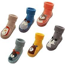 37206c2cc LIUCHENGHANG - Pack de 6 Pares Calcetines Antideslizantes de Animal para  Bebé Niños con Suela de