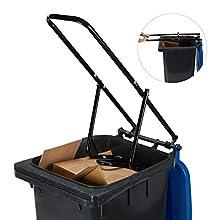 Relaxdays Rubbish Press For Wheelie Bins, Household Trash Can Press, Manual, Recycle Bin Compactor, Steel, Black
