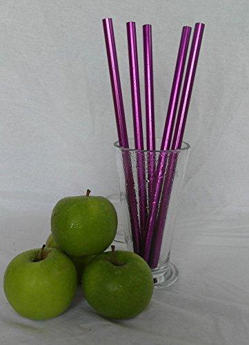 Ref. 091 Trinkhalme, Edelstahl, wiederverwendbar, für Suppen, Saft, Obst und Gemüse, 1 cm dick, Violett, 10 Stück (091 Violett)