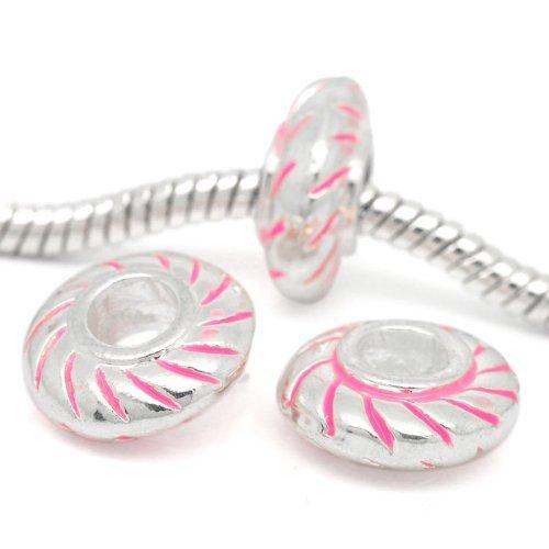 Sexy paillettes Femme Rond floresent Entretoise Charm pour bracelet rose