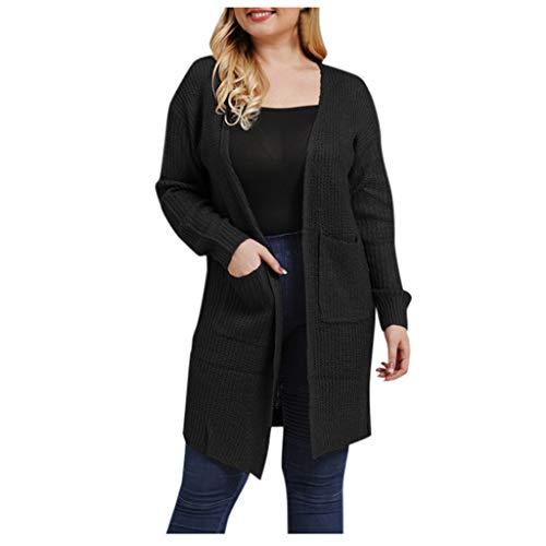 TOPGKD Jacke Übergroße Damen Langarm Mantel Cardigan Einfarbig Lose Gestrickte Herbst Winter Lange Dünne Jacken Coat Outwear (Schwarz, XXXL) -