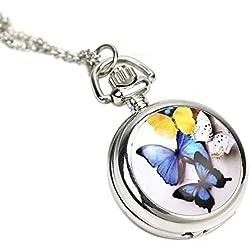 Vintage Women Locket Pendant Quartz Pocket Watch Necklace Chain Butterfly Cover
