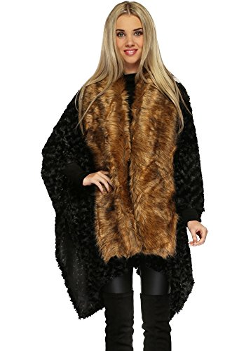 designer-desirables-schwarz-texturierte-faux-pelz-asymmetrischen-cape-mit-kragen-one-size-black