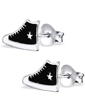 JAYARE Kinder Ohrstecker Schuhe Sneaker 925 Sterling Silber Mädchen Ohrringe im Geschenketui Turnschuhe Sterne...