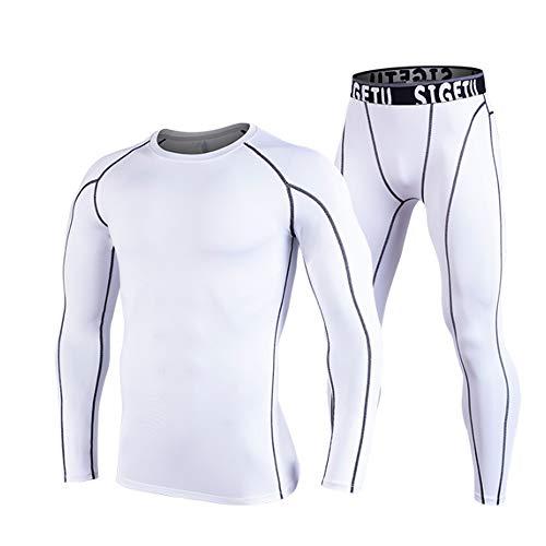 QJKai Männer 2 Stücke Fitness Gym Kleidung Set, Übung Sport Kleidung Männer Compression Shirt und Strumpfhosen Hosen Workout Laufen Training Lässige Trainingsanzüge Anzug (übung Männer Kleidung)