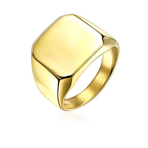 Solide Poliert Uns Band Ring Biker Edelstahl Männer Siegelring - Gold (54 (17.2)) (Siegelringe Für Männer Gold)