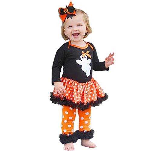 QinMM Neugeborenes Kleinkind Baby Mädchen Halloween Outfits Set, Ghost Dot Kleid Strampler Hosen Tutu Kleid Schwarz Für 6 Monate-24 Monate (18M, Schwarz) (Tutu Skelett Kostüm)
