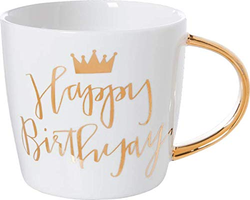 Slant Kollektion 14oz Keramik Kaffee Becher Happy Birthday Krone Tasse