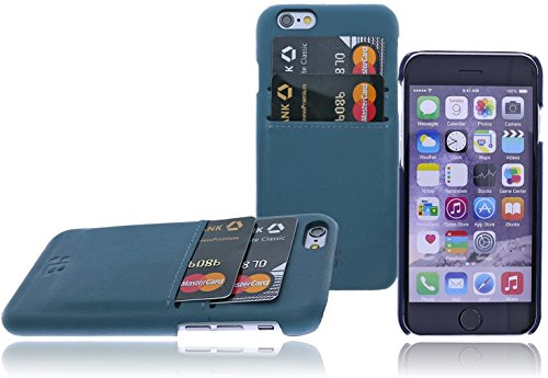 Apple iPhone SE / 5 / 5S Leder Hülle | Handyhülle | Schutzhülle | Leder-Cover | Case | Backcover | Tasche | Bumper mit bruchfester Schale im Vintage / Retro Look by Burkley (Cognac) Petrol