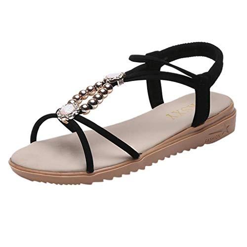 T-shao Scarpe da Donna con Strass Sandali Bohemien con Perline Pantofole da Spiaggia Casual Traspiranti Sandali Piatti Moda Estiva (Color : Nero, Size : 36 EU)