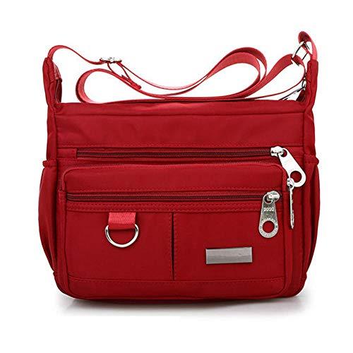 Designer Handtasche Nylon (MOLUO Tasche Neue Damenmode Umhängetaschen für Frauen Designer wasserdichte Nylon Handtasche Reißverschluss Geldbörsen Messenger Crossbody Bag @ Red)