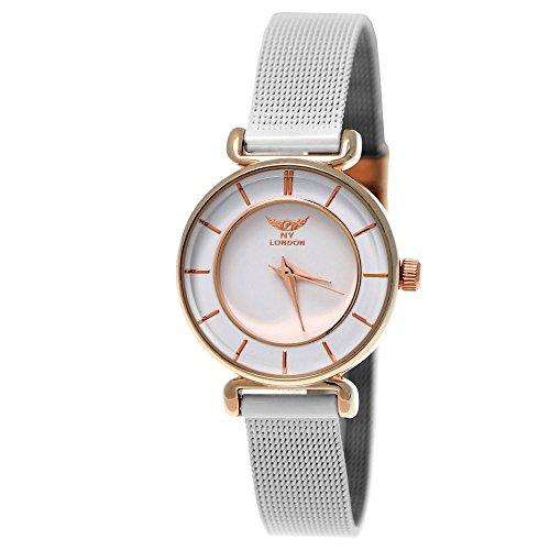 esigner Damenuhr Damen Armband Uhr Weiß Rose Gold inkl. Uhrenbox ()
