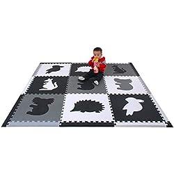 qqpp EVA Puzzle Tapis Mousse Bebe - Idéal pour Les Tapis De Jeux Enfant,9 Dalles(60*60*1.4cm),Animaux.QQP60(2) k9S16