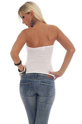 Fashion4Young/10078–top bandeau sans bretelles en tissu stretch pour femme avec strass disponible en 8 couleurs différentes tailles Blanc - blanc