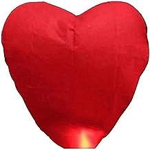 PIXNOR Corazón en forma de linterna que deseen lámparas chinas Kongming linterna del cielo (Rojo)