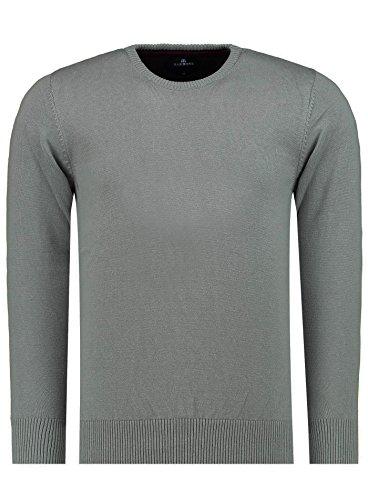 MOKIES Herren Pullover - Rundhals - Modern-Fit - Hochwertige Baumwollmischung - Feinstrick-Pullover - Grau 3XL