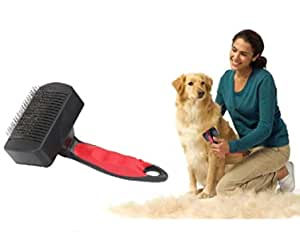 THE DDS STORE Self Cleaning Slicker Brush for Dogs and Cats - Easy to Clean Pet Grooming Brush Removes Mats, Tangles, and Loose Hair with Minimal Effort and Comfort - Suitable for Long or Short Hair (Color May Vary)