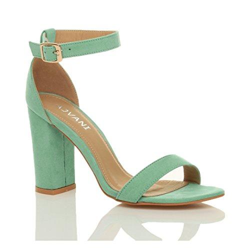 Donna tacco alto blocco fibbia scarpe punta aperta sandali con cinturino taglia Menta verde scamosciata