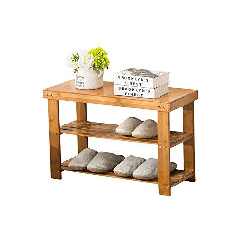 Schuhregal Bambus, 2 Schichten, hochwertiger Lack, einfacher Haushalt, Platz sparen, Umweltschutzmaterial, 6 Größen zur Auswahl, mehrstöckiger Economy Shoe Hocker. (größe : 60cm) - Platz 2 Hocker
