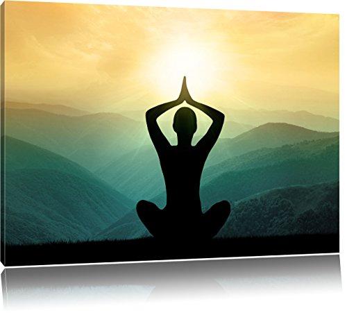 Yoga und Meditation in den Bergen, Format: 120x80 auf Leinwand, XXL riesige Bilder fertig gerahmt mit Keilrahmen, Kunstdruck auf Wandbild mit Rahmen,...