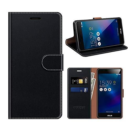 coodio Zenfone 3 Max ZC520TL Hülle Leder, Zenfone 3 Max ZC520TL Kapphülle Tasche Leder Flip Cover Schutzhülle Rugged für ASUS Zenfone 3 Max ZC520TL Handyhülle, Schwarz