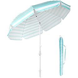 Sekey Parasol de Jardin 215 cm Parasol de Terrasse avec Pieds de Sol et Housse de Protection Bleu Rayé Rond Protection UV 25+ (View Amazon Detail Page)