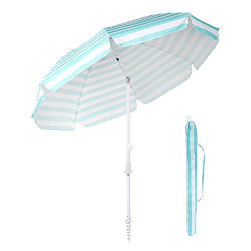 Sekey Sonnenschirm 215 cm Marktschirm Gartenschirm Terrassenschirm mit Bodendübel und Schutzhülle Blau Streifen Rund Sonnenschutz UV25+