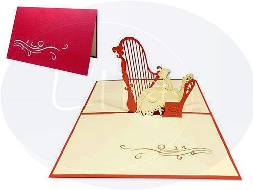 LIN-POP UP Grußkarten, Geburtstagskarten, Musik Konzert Gutscheinkarten, Harfespiel
