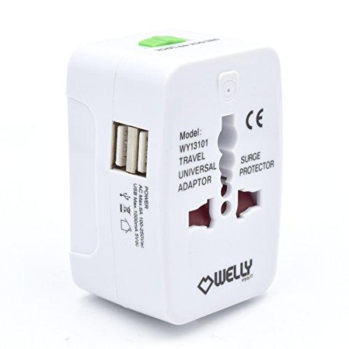 Welly Enjoy WY13101 Universal Welt Reiseadapter mit 2 Dual USB Port Netzadapterstecker Reisestecker mit EU/UK/US/AU Steckdosenadapter Weiß -