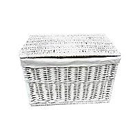 topfurnishing White Grey Wicker Baby Nursery Storage Basket Chest Trunk Toy Blanket Box Lined