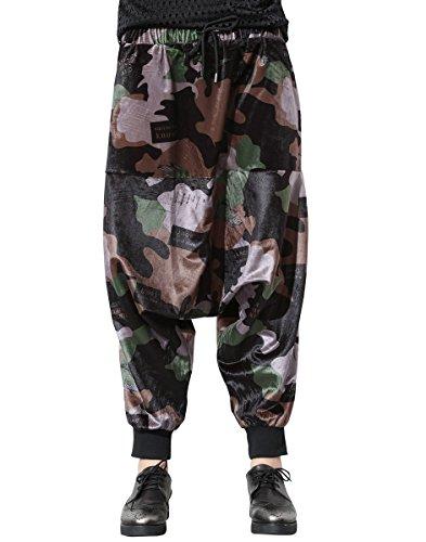 ELLAZHU Damen Fashion Camouflage Printdrop Gürtel Elastisch Taille Lange Baggy Hose GY1424