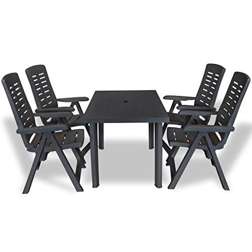 Festnight- 5-TLG Kunststoff Garten-Essgruppe mit 4 Stühle | Gartentisch mit 4 Klappstühle Sitzgruppe | Gartengarnitur Sitzgarnitur Gartenset Terrassenmöbel Gartenmöbel Set Anthrazit