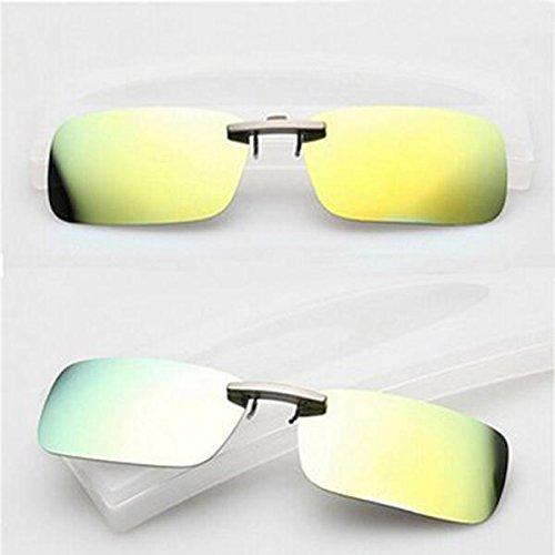 INNI polarisierte Sonnenbrille zum Aufstecken, Sonnenbrillen, Nachtsicht-Linse für Metallrahmen, Herren Damen, Gelb/Grün