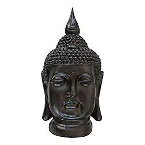 Dasmöbelwerk XXL Buddha Deko Kopf Figur Feng Shui Wetterfest Frostfrei  Gartenfigur S082 Schwarz