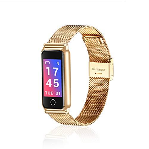 Gold-farb-bildschirm (ZHPBHD Fashion Smart Metall-Farb-Bildschirm Armband wasserdicht Intelligente Uhr (Color : Gold))