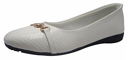 Sammy dérapant élégant des femmes sur ballerines chaussures plates ballet de chaussures casual Blanc