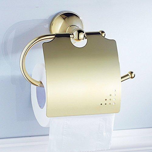 Weare Home Prächtig Opulent Prunkvoll Modern Poliert Gold finished Badezimmer Accessoires Wandmontag Bohren Wandhalterung Toilettenpapierhalter mit Deckel Alle Messing Wasserdicht