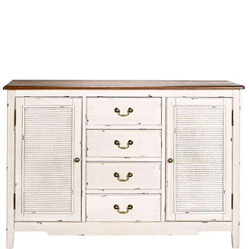 BUTLERS Cabott Cove Kommode im Landhausstil mit 4 Schubladen und 2 Türen - Shabby Weißes Vintage Sideboard aus Holz - 128x86,5 cm