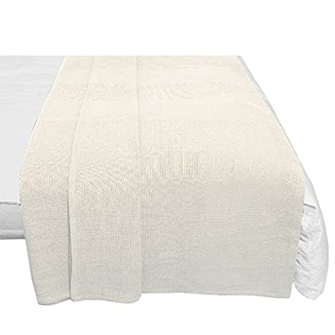 Tagesdecke Sofaüberwurf Bettüberwurf 100% Baumwolle 250x250cm Weiss