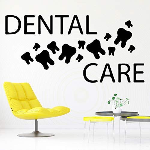 TYLPK Art Dental Wandaufkleber Vinyl Home Decoration Kinderzimmer Abnehmbare Home Dental Krankenhaus Wanddekoration Wandaufkleber schwarz 58X28 CM