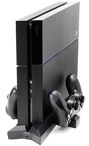 MyGadget PS4 / Playstation 4 Slim Vertikalständer für Konsole - bis zu 5 x Controller laden - Dualshock Dockingstation Halterung Ladestation in Schwarz